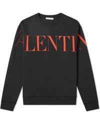 Valentino Logo-print Cotton-blend Sweatshirt - Black