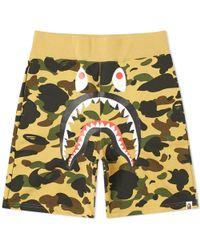 A Bathing Ape 1st Camo Shark Sweat Short - Yellow