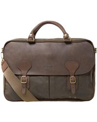 Barbour Wax Leather Briefcase - Green