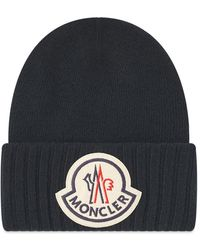 Moncler Black Wool Hat With Maxi Logo