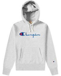 Champion Script Logo Hoody - Gray