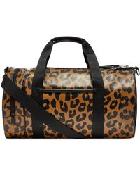 Fred Perry Leopard Print Barrel Bag - Brown