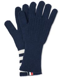 Thom Browne Cashmere 4 Bar Glove - Blue