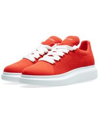Alexander McQueen Knitted Wedge Sole Sneaker - Red