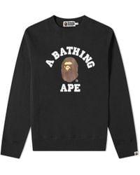 A Bathing Ape Long Sleeve College Tee - Black