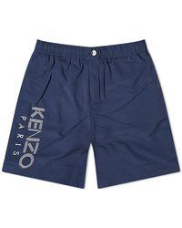 KENZO Long Paris Logo Swim Trunk - Blue