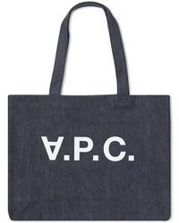 A.P.C. Logo Daniel Denim Tote Bag - Blue