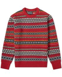 Barbour Case Fair Isle Crew Knit - Red