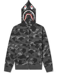 A Bathing Ape Bape Color Camo 2nd Shark Full Zip Hoodie M - Black