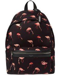Saint Laurent - Flamingo Print Canvas Backpack - Lyst
