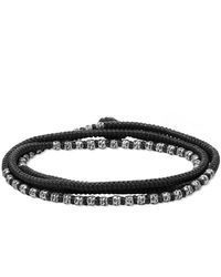 M. Cohen Knotted 4 Wrap Silver Thai Hammered Bead Bracelet - Black