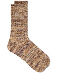 Anonymous Ism 5 Color Mix Crew Sock - Brown