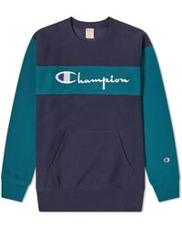 Champion Two-tone Embroidered Logo Sweatshirt - Blue