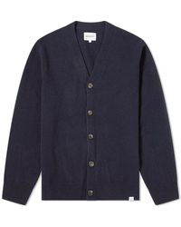 Norse Projects Adam Lambswool Cardigan - Blue