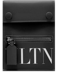 Valentino Vltn Leather Neck Pouch - Black