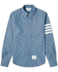 Thom Browne 4 Bar Button Down Chambray Shirt - Blue