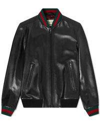 Gucci Grg Taped Leather Bomber Jacket - Black