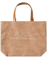 A.P.C. Igor Stitch Tote Logo Bag - Brown