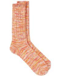 Anonymous Ism 5 Color Mix Crew Sock - Orange