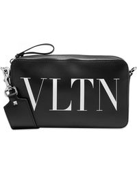 Valentino Vltn Leather Cross Body Bag - Black