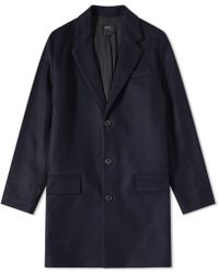A.P.C. - Majordome Wool Chesterfield Coat - Lyst
