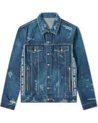 Balmain Taped Logo Distressed Denim Jacket - Blue