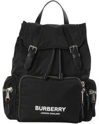 Burberry The Medium Rucksack in Logo Print ECONYL® - Schwarz