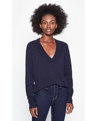Equipment Madalene V-neck Cashmere Jumper - Blue