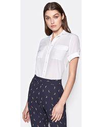 Equipment Short Sleeve Slim Signature Silk Shirt By - White