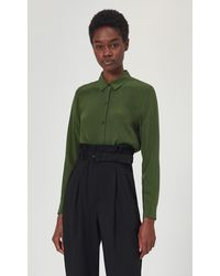 Equipment Essential Silk Shirt By - Green