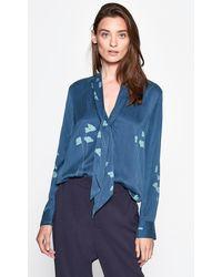 Equipment Fayanna Floral Tie-neck Long-sleeve Silk Blouse - Blue