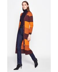 Equipment Verelle Striped Wool Long Cardigan - Orange
