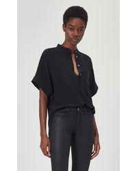 Equipment Alvia Short Sleeve Silk Top By - Black