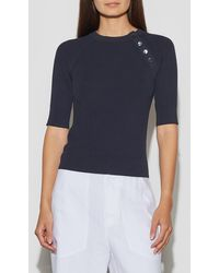Equipment Desiree Short Sleeve Jumper By - Blue