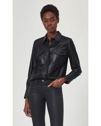 Equipment Garcella Long Sleeve Leather Top By - Black