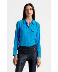 Equipment Slim Signature Silk Shirt By - Blue