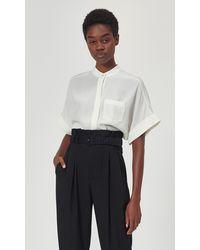 Equipment Alvia Short Sleeve Silk Top By - White