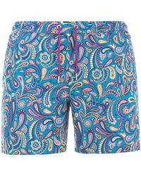 Pretty Green Festival Paisley Swim Shorts - Blue