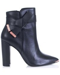 Ted Baker - Remadi Knotted Bow Leather Ankle Boot In Black - Lyst