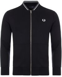 Fred Perry Baseball Collar Track Sweatshirt - Black