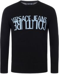 Versace Jeans Couture Jacquard Crew Knit Jumper - Black