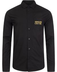 Versace Jeans Couture - Long Sleeve Pocket Gold Logo Shirt - Lyst