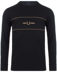 Fred Perry Embroidered Panel Tee - Black