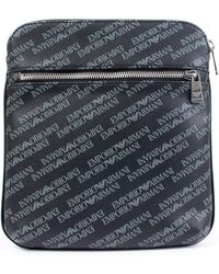 Armani Jeans All Over Logo Eco Leather Bag in Black for Men - Lyst 27a5c31260129