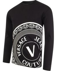 Versace Jeans Couture - R Centred V Emblem Jersey Long Sleeved T-shirt - Lyst