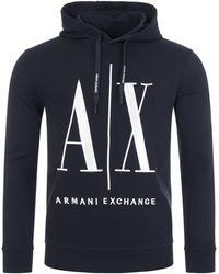 Armani Exchange Icon Overhead Hoodie - Blue