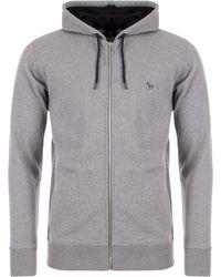 PS by Paul Smith Zebra Logo Zip Through Hoodie - Grey