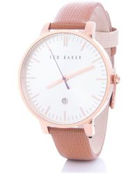 Ted Baker Kate Saffiano Leather Strap Watch - Pink