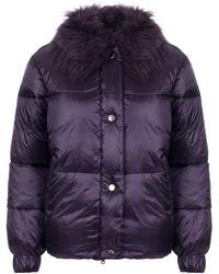 Emporio Armani Faux Fur Collar Puffa Jacket - Purple