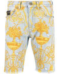Versace Jeans Couture - Baroque-print Denim Shorts - Lyst